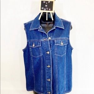 NORDSTROM DENIM JEAN JACKET VEST BLUE SIZE SMALL